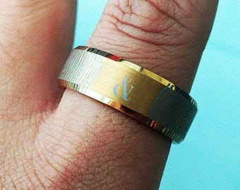 Fingerprint Engraved Couple Set Gold Plated Tungsten Ring Flat Brushed Center & Polished Bevel Edges - 8mm - Lifetime Size Exchanges