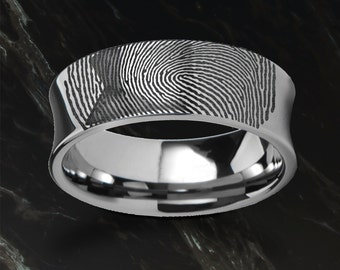 Actual Fingerprint Ring Tungsten Carbide Engraved Wedding Band Concaved and Polished - 4mm to 8mm Available - Lifetime Size Exchanges