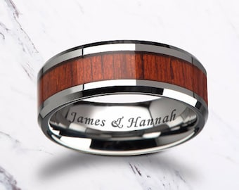 Custom Personalized Engraved Beveled Edge Padauk Wood Inlay Tungsten Carbide Ring - 6mm - 10mm Available - Lifetime Size Exchanges