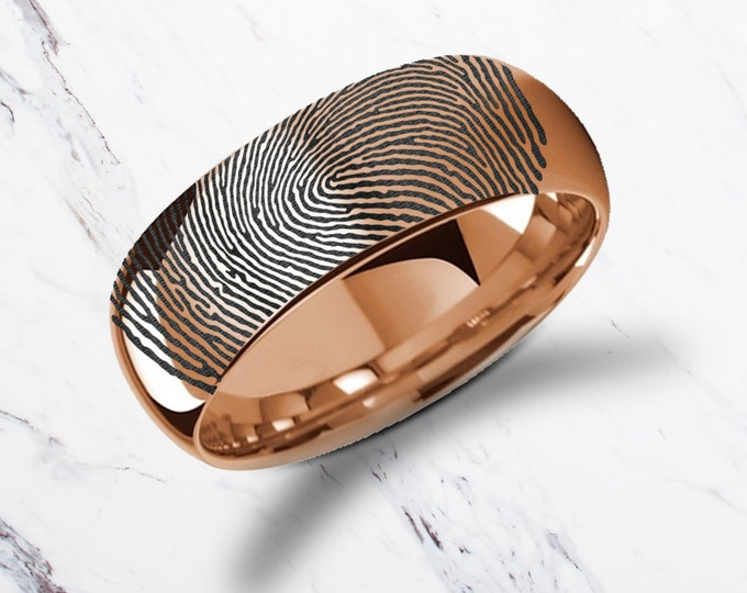 Actual Fingerprint Ring Pink Rose Gold Plated Tungsten Engraved Wedding Band Polish and Dome - 4mm - 8mm Available - Gold Thumbprint Ring