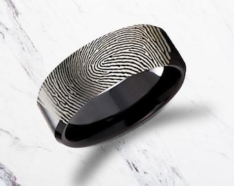 Actual Fingerprint Ring Polished Bevel Edge Black Tungsten Carbide Engraved Wedding Band Brushed - 4mm - 10mm - Lifetime Size Exchanges