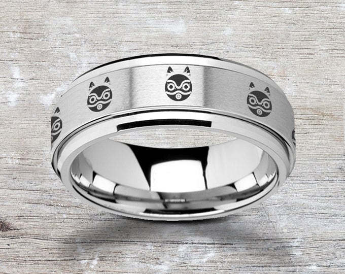Laser Engraved Fidget Spinner Princess Mononoke San Mask Ring Satin & Polished Edges - 8mm Available - Lifetime Size Exchanges