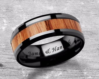 Custom Personalized Engraved Beveled Oak Wood Inlay Black Ceramic Ring - 6mm - 10mm Available - Lifetime Size Exchanges