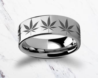 Engraved Weed Marijuana Leaf Tungsten Ring Flat and Polished - 4mm to 12mm - Lifetime Size Exchanges