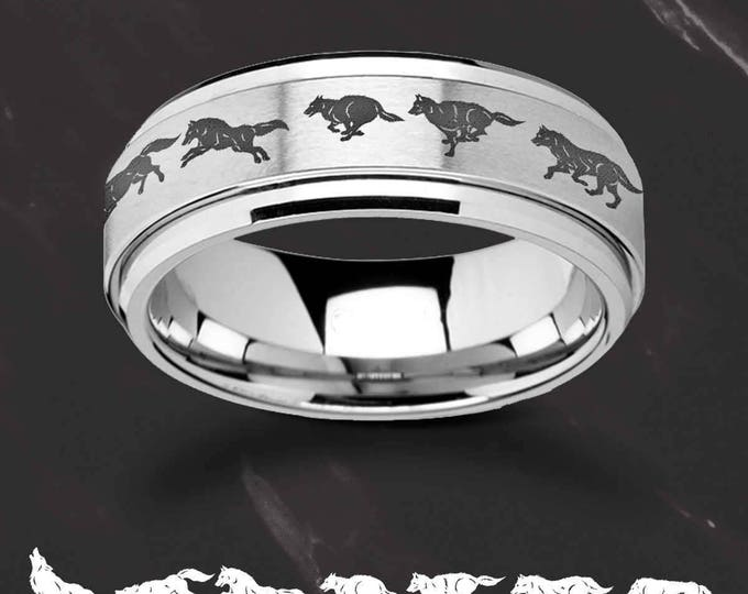 Laser Engraved Fidget Spinner Ring Running Wolf Scene Landscape Satin & Polished Edges - 8mm Available - Lifetime Size Exchanges