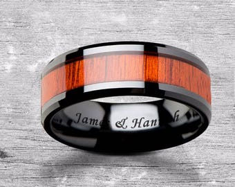 Custom Personalized Engraved Beveled Edge Padauk Wood Inlay Black Ceramic Ring - 6mm - 10mm Available - Lifetime Size Exchanges