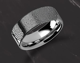 Actual Fingerprint Ring Tungsten Carbide Engraved Wedding Band Flat and Polished - 4mm to 12mm Available - Thumbprint Ring