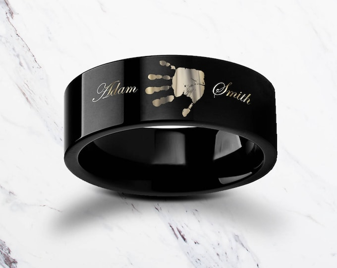 Baby Handprint Memorial Bereavement Ring Black Tungsten Ring Engraved Wedding Band Flat and Brushed - 4mm to 12mm - Lifetime Size Exchanges