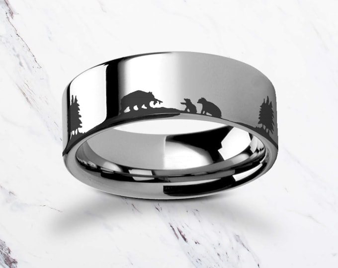 Engraved Bear Family Mother Bear Tungsten Ring Flat Polished Finish - 4mm to 12mm Available - Lifetime Size Exchanges