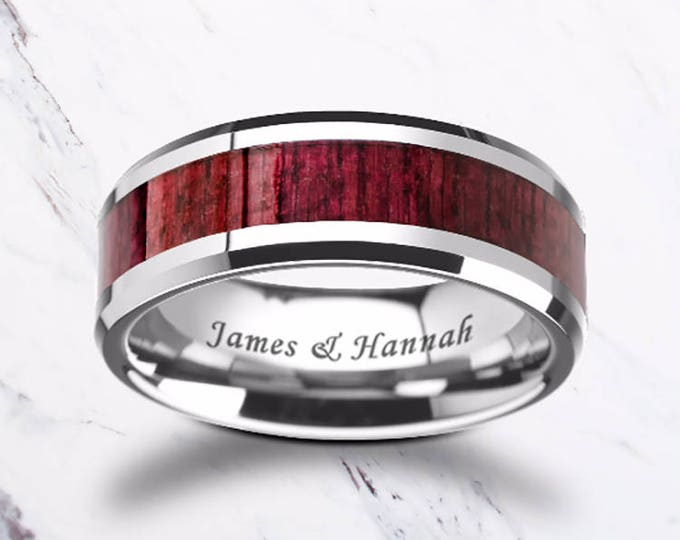 Custom Personalized Engraved Bevel Edge Purple Heart Wood Inlay Tungsten Carbide Ring - 8mm Available - Lifetime Size Exchanges