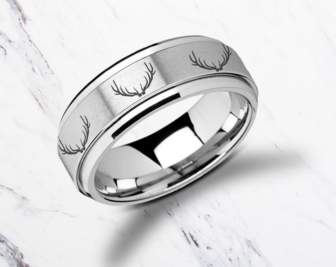 Laser Engraved Fidget Spinner Ring Deer Stag Antler Satin & Polished Edges - 8mm Available - Lifetime Size Exchanges