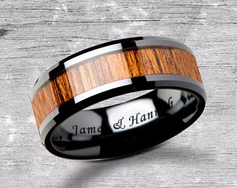 Custom Personalized Engraved Beveled Teak Wood Inlay Black Ceramic Ring - 6mm - 10mm Available - Lifetime Size Exchanges