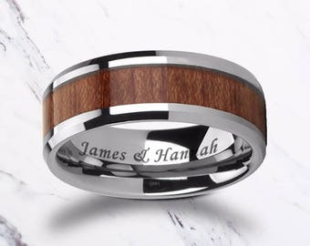 Custom Personalized Engraved Bevel Edged Rose Wood Inlay Tungsten Carbide Ring - 4mm to 12mm Available - Lifetime Size Exchanges
