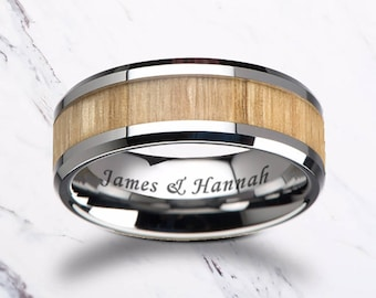 Custom Personalized Engraved Beveled Edge Ash Wood Inlay Tungsten Carbide Ring - 6mm - 10mm Available - Lifetime Size Exchanges