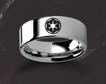 Engraved Star Wars Sith Imperial Emblem Symbol Tungsten Ring Flat and Polished - 4mm to 12mm Available - Lifetime Size Exchanges