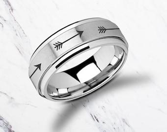Laser Engraved Fidget Spinner Ring Minimal Arrows Design Satin & Polished Edges - 8mm Available - Lifetime Size Exchanges