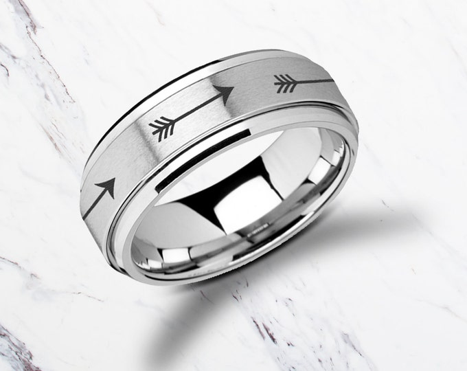 Laser Engraved Fidget Spinner Ring Minimal Arrows Design Satin & Polished Edges - 8mm Available - Lifetime Size Exchanges