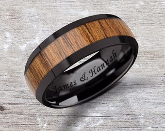 Custom Personalized Engraved Domed Teak Wood Inlay Black Ceramic Ring - 8mm Available - Lifetime Size Exchanges