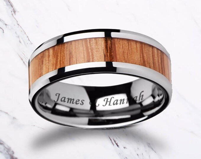 Custom Personalized Engraved Beveled Oak Wood Inlay Tungsten Carbide Ring - 6mm - 10mm Available - Lifetime Size Exchanges