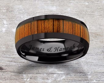 Custom Personalized Engraved Domed Koa Wood Inlay Black Ceramic Ring - 8mm Available - Lifetime Size Exchanges
