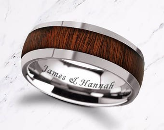 Custom Personalized Engraved Domed Rose Wood Inlay Tungsten Carbide Ring - 8mm Available - Lifetime Size Exchanges