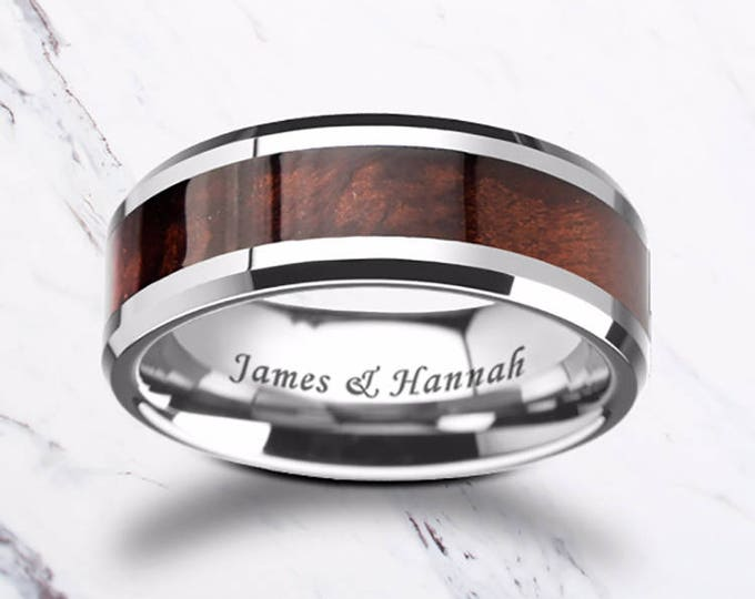 Custom Personalized Engraved Beveled Red Wood Inlay Tungsten Carbide Ring - 8mm Available - Lifetime Size Exchanges