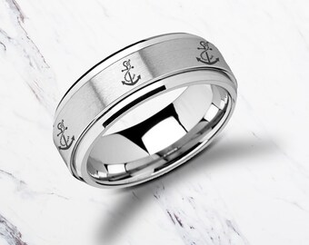 Laser Engraved Fidget Spinner Ring Sailor Boat Anchor Design Satin & Polished Edges - 8mm Available - Lifetime Size Exchanges