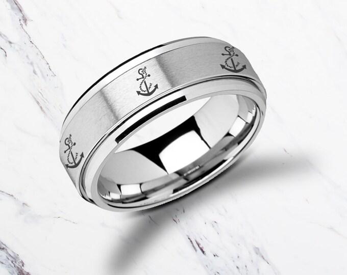 Laser Engraved Fidget Spinner Ring Sailor Boat Anchor Design Satin & Polished Edges - 8mm Available - Lifetime Size Exchanges