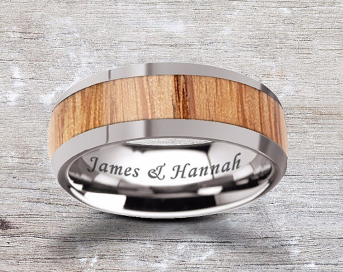 Custom Personalized Engraved Domed Oak Wood Inlay Tungsten Carbide Ring - 8mm Available - Lifetime Size Exchanges