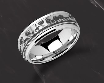 Laser Engraved Fidget Spinner Ring Scene Landscape Grazing Horses Trees Satin & Polished Edges - 8mm Available - Lifetime Size Exchanges