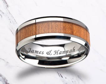 Custom Personalized Engraved Beveled Cherry Wood Inlay Black Ceramic Ring - 6mm - 10mm Available - Lifetime Size Exchanges