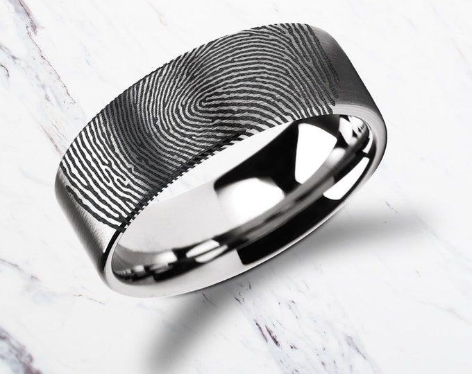 Actual Fingerprint Ring Tungsten Carbide Engraved Wedding Band Flat and Brushed - 4mm to 12mm Available - Thumbprint Ring