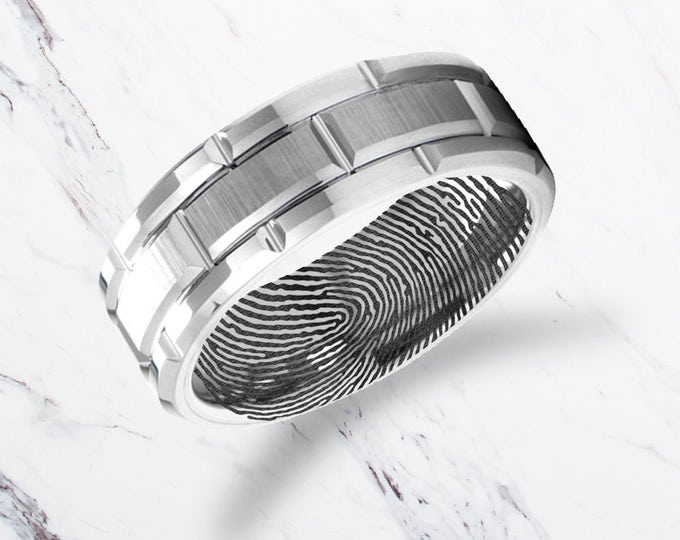 Actual Fingerprint Ring Multi-Grooved Tungsten Carbide Engraved Wedding Band Brushed - 8mm Available - Lifetime Size Exchanges