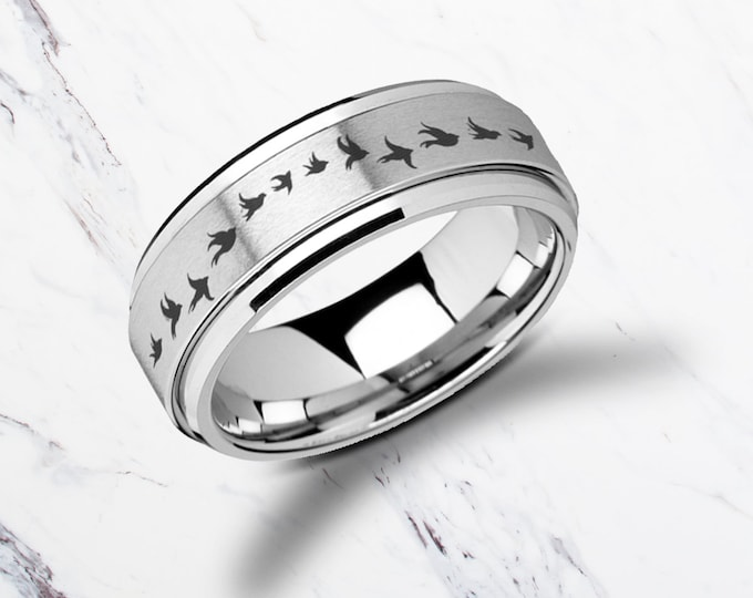 Laser Engraved Fidget Spinner Ring Flying Birds Doves Satin & Polished Edges - 8mm Available - Lifetime Size Exchanges