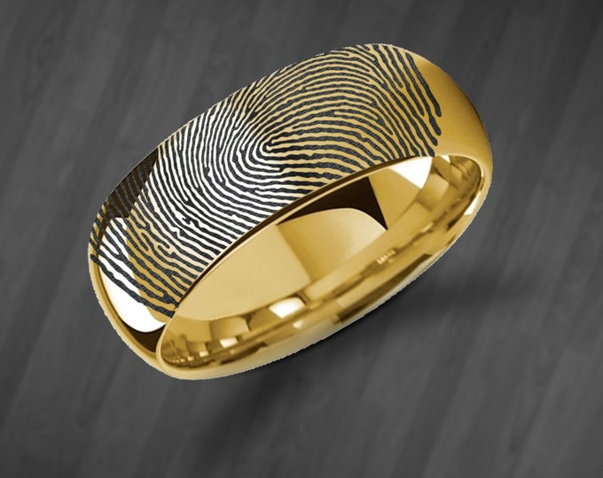 Actual Fingerprint Ring Yellow Gold Plated Tungsten Ring Engraved Wedding Band Polished and Domed - 4mm to 8mm - Thumbprint Ring