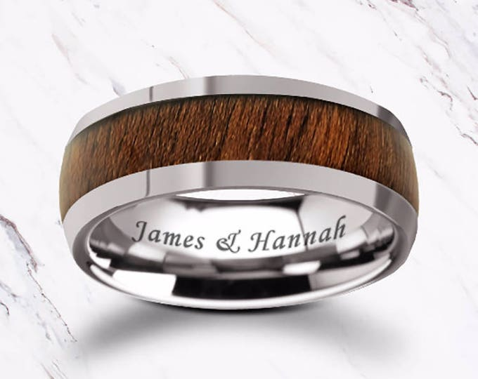 Custom Personalized Engraved Domed Black Walnut Wood Inlay Tungsten Carbide Ring - 8mm Available - Lifetime Size Exchanges