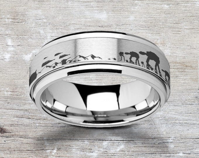 Laser Engraved Fidget Spinner Ring Star Wars Hoth Battle Scene Snow Satin & Polished Edges - 8mm Available - Lifetime Size Exchanges