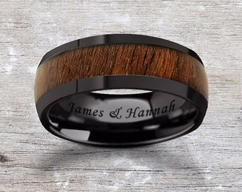 Custom Personalized Engraved Domed Black Walnut Wood Inlay Black Ceramic Ring - 8mm Available - Lifetime Size Exchanges