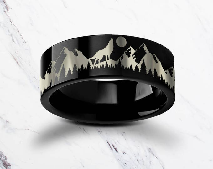 Engraved Howling Wolf Moon Forest Mountain Landscape Scene Black Tungsten Ring Flat Polished Finish - 4mm to 12mm - Lifetime Size Exchanges