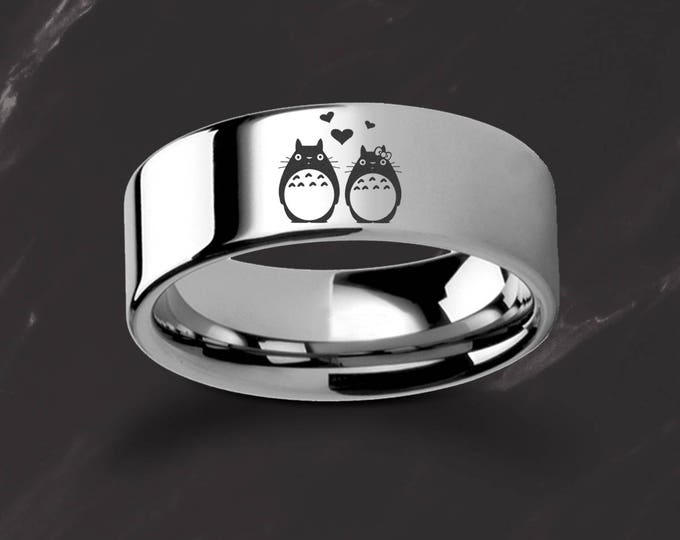 Engraved My Neighbor Totoro Couple in Love Tungsten Ring Flat Polished Finish - 4mm to 12mm Available - Lifetime Size Exchanges