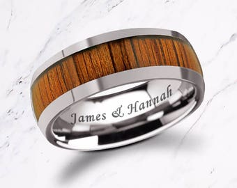 Custom Personalized Engraved Domed Koa Wood Inlay Tungsten Carbide Ring - 8mm Available - Lifetime Size Exchanges