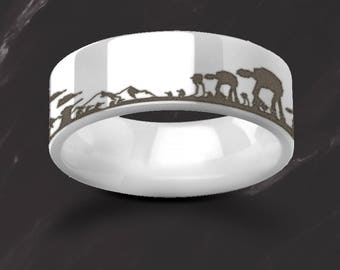 Engraved Star Wars Battle of the Hoth Scene ATAT ATST White Snow Ceramic Ring Flat and Polished - 6mm & 8mm - Lifetime Size Exchanges