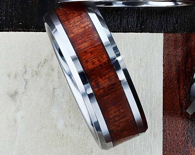 Custom Personalized Engraved Beveled Edge African Sapele Wood Inlay Tungsten Carbide Ring - 6mm - 10mm Available - Lifetime Size Exchanges