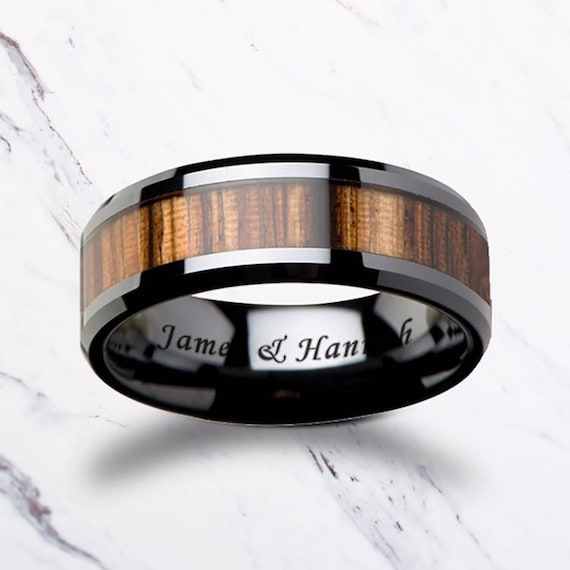 Custom Personalized Engraved Beveled Zebra Wood Inlay Black Ceramic Ring - 4mm - 10mm Available - Lifetime Size Exchanges