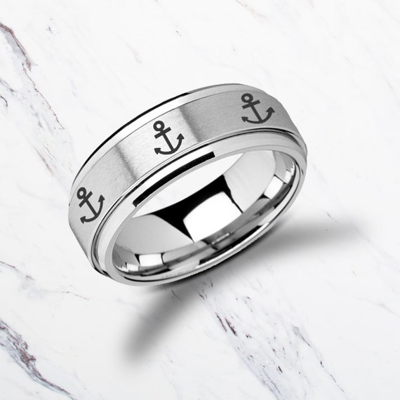 Laser Engraved Fidget Spinner Ring Minimal Anchor Design Satin & Polished Edges - 8mm Available - Lifetime Size Exchanges