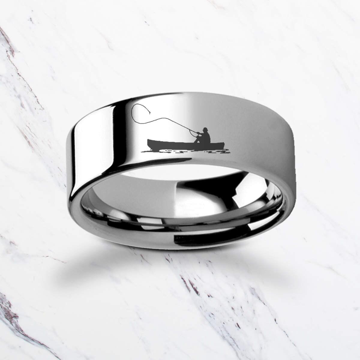 Gravierte Fischer Fliegenfischen Boot Wolfram Ring Flach Etsy