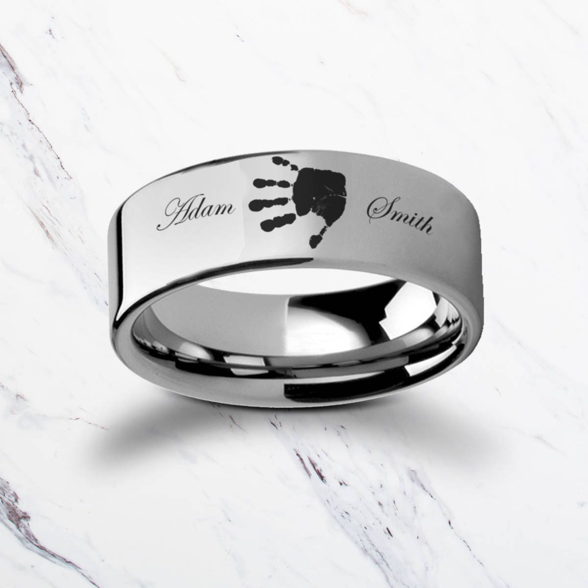 Baby Handprint Memorial Bereavement Ring Tungsten Carbide Engraved Wedding Band Flat And Brushed 4mm To 12mm Lifetime Size Exchanges: 12mm Silver Flat Wedding Band At Reisefeber.org
