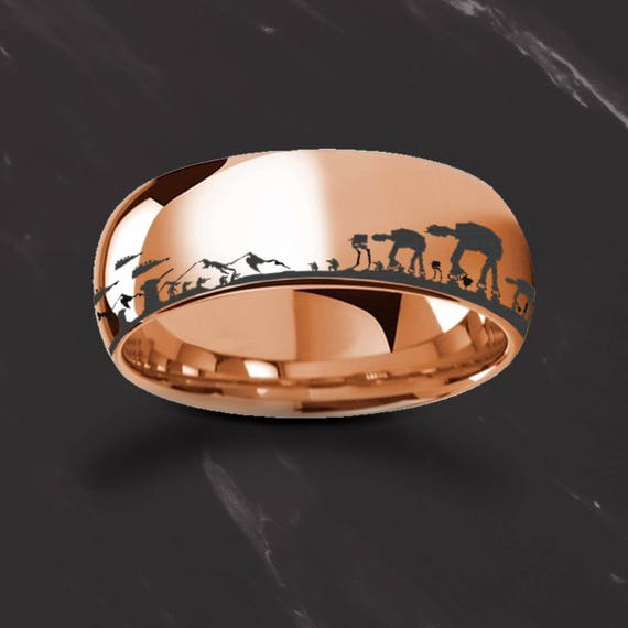 Engraved Star Wars Battle of the Hoth Scene ATAT ATST Rose Gold Plated Tungsten Ring - 4mm to 8mm Available - Lifetime Size Exchanges