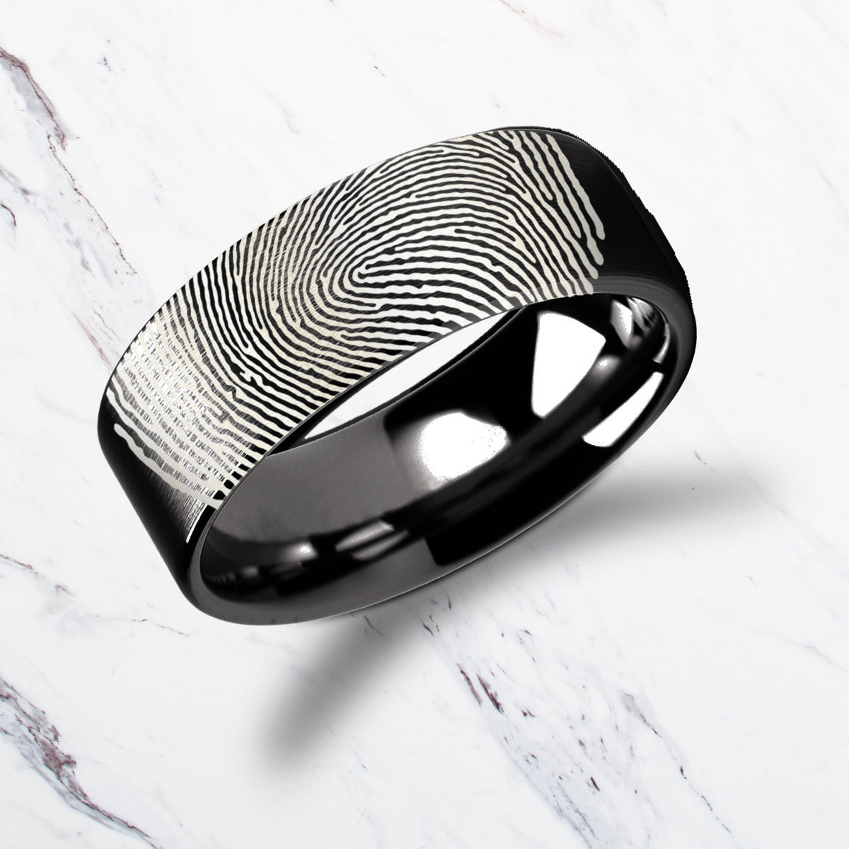 Actual Fingerprint Ring Black Tungsten Carbide Engraved Wedding Band Flat And Polished 4mm To 12mm Available Lifetime Size Exchanges: 12mm Silver Flat Wedding Band At Reisefeber.org