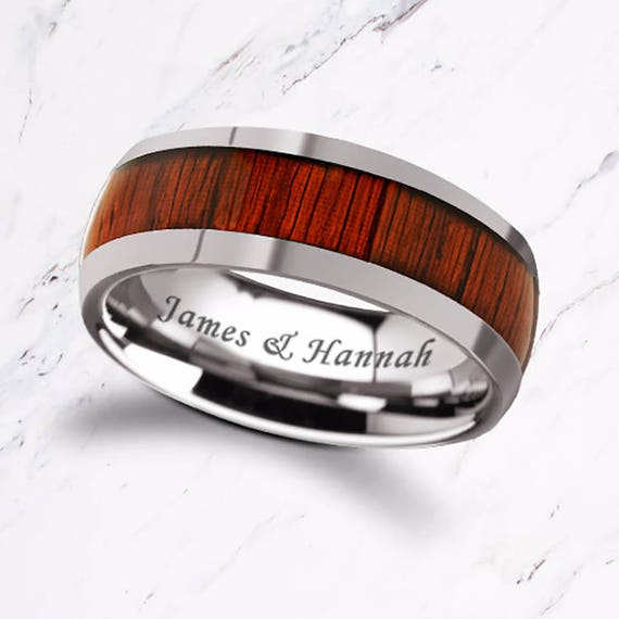 Custom Personalized Engraved Domed Padauk Wood Inlay Tungsten Carbide Ring - 8mm Available - Lifetime Size Exchanges